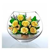 Натуральные розы в стекле